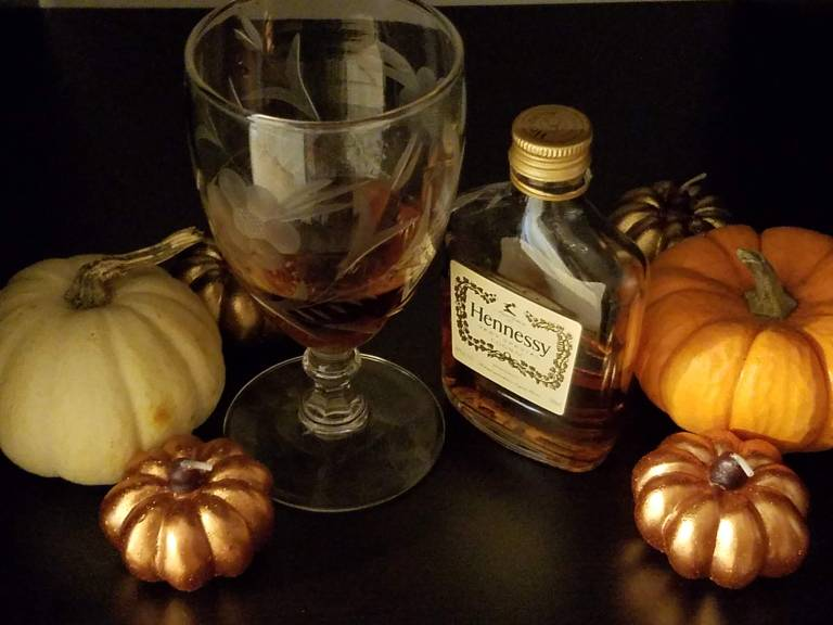 baby pumpkins, wine glass, liquor and candles, thanksgiving, holiday, still life