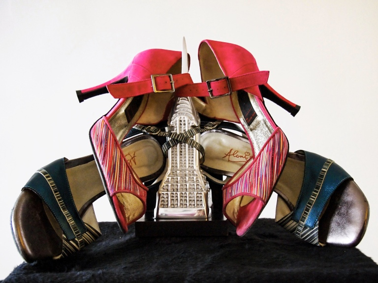 tango shoes, stilettos, empire state model, composed in a still life photograph