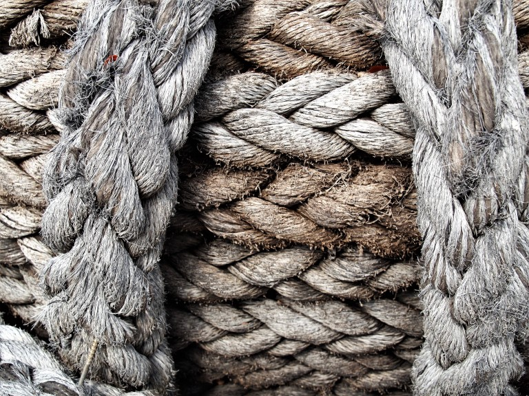 recycled yacht ropes, wound tightly