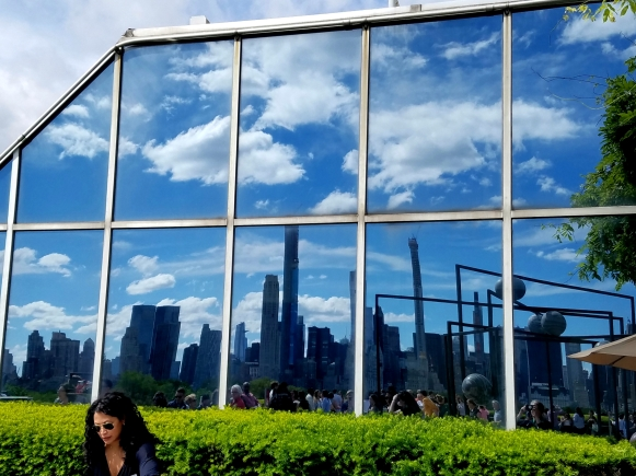 reflection of clouds and nyc skyline, urban photography
