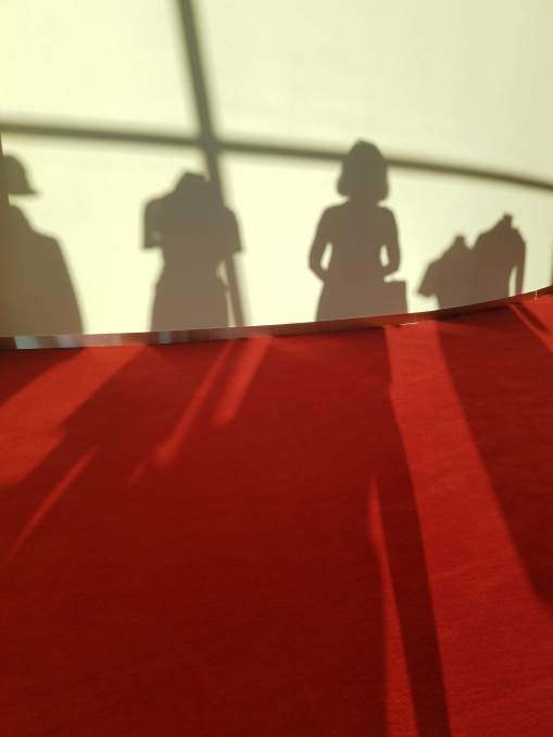 shadow selfie with mannequins
