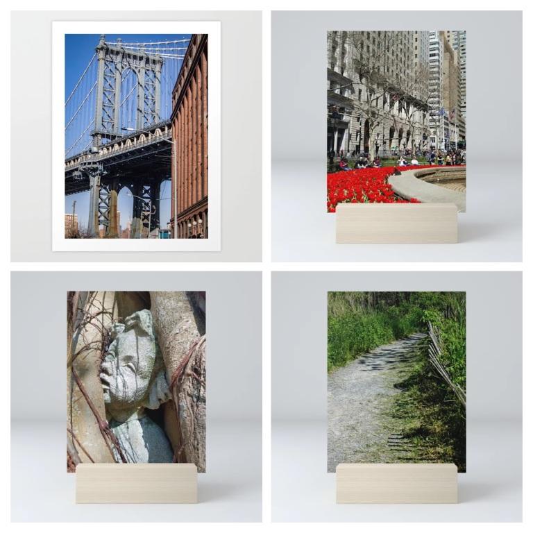 Manhattan Bridge, Manhattan Blooming, Tortured Angel and Quiet Path mini prints, all on Society6.com in the LensMomentsNS shop.