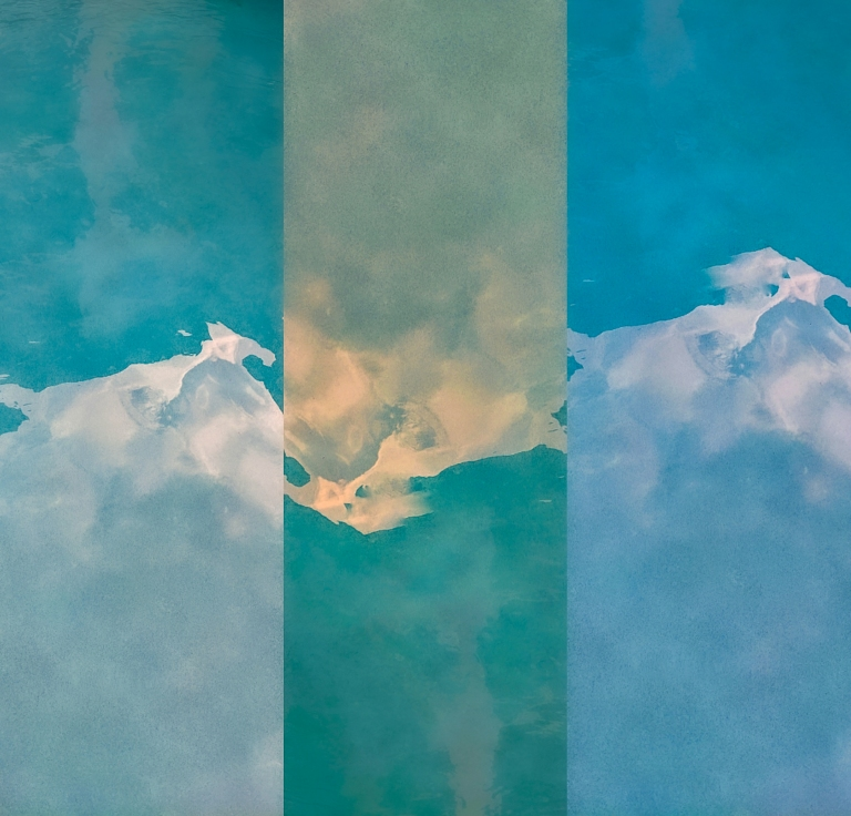 Pool Water and SKy 1, a digital photo collage by LensMoments - Nichole Spates 2020